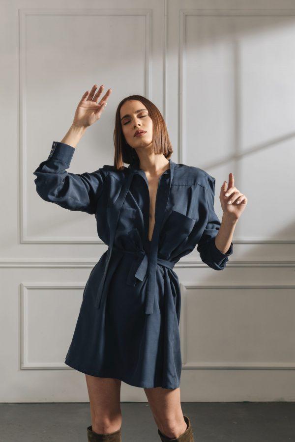 H1 Navy Blue Silk Dress