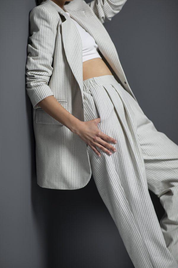 P3 White-Grey Stripes Pants